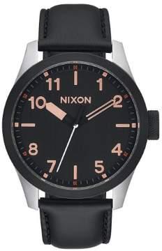 Nixon Men's 'Safari Leather' 43mm Black / Rose Gold Watch