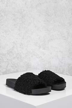 Forever 21 Faux Shearling Slide Sandals