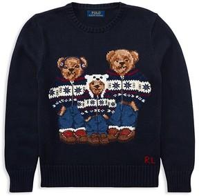 Ralph Lauren Boys' Intarsia Bear Family Sweater - Big Kid