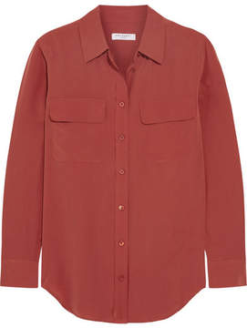 Equipment Slim Signature Washed-silk Shirt - Crimson