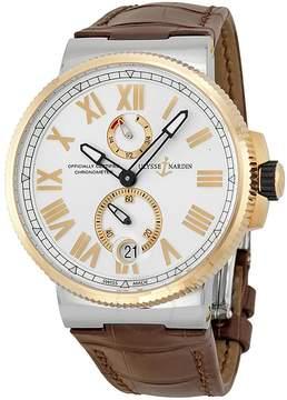 Ulysse Nardin Marine Chronometer Silver Dial Brown Leather Men's Watch