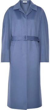 Jil Sander Belted Wool And Cashmere-blend Coat - Blue