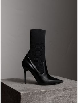 Burberry Mid-calf Patent Leather and Knitted Mesh Boots