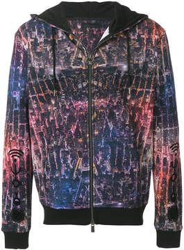 Frankie Morello aerial print zipped hoodie
