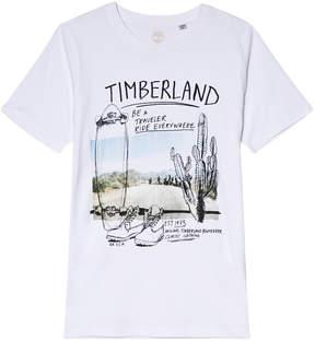 Timberland Kids White Cactus Skateboard T-Shirt