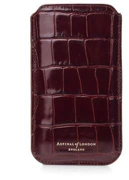 Aspinal of London | Iphone 6 Plus Leather Sleeve In Deep Shine Amazon Brown Croc | Deep shine amazon brown croc