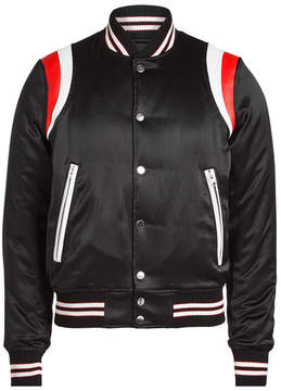 Amiri Silk Varsity Jacket with Leather
