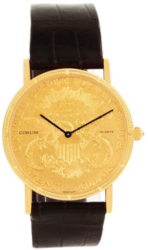 Corum 20 Dollars Coin Double Eagle 18K Yellow Gold & Leather 36mm Mens Watch 1904