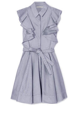 Antonio Berardi Ruffled Cotton-chambray Mini Dress - Gray