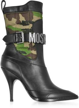 Moschino Black Leather and Camouflage Quilted Canvas Boots
