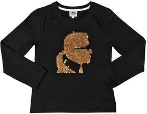 Karl Lagerfeld Sequins Cotton Jersey T-Shirt