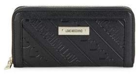 Love Moschino Textured Faux Leather Continental Wallet