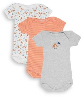 Petit Bateau Baby's Three-Piece Striped & Animal-Print Bodysuit Set