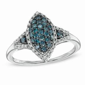 Zales 1/2 CT. T.W. Enhanced Blue and White Diamond Marquise Frame Ring in Sterling Silver - Size 7
