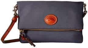 Dooney & Bourke Nylon Fold-Over Zip Crossbody Handbags - MIDNIGHT BLUE/TAN TRIM - STYLE