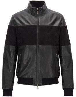 BOSS Hugo Leather & Suede Jacket Miloy 38R Black