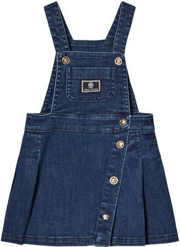 Versace Blue Denim Branded Dungaree Dress