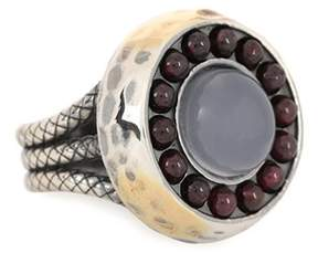 Bottega Veneta Sterling silver and 24kt gold ring with chalcedony and garnet