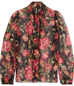Dolce & Gabbana Rose Pussy-bow Printed Silk-chiffon Blouse - Pink