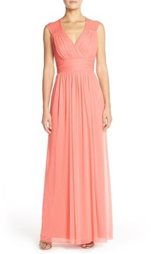 Alfred Sung Women's Shirred Chiffon Cap Sleeve Gown