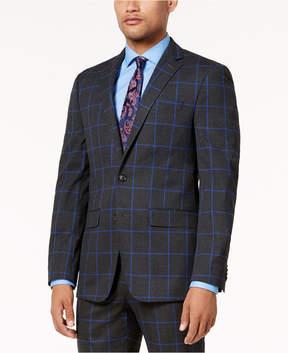 Sean John Men's Charcoal Windowpane Slim-Fit Jacket