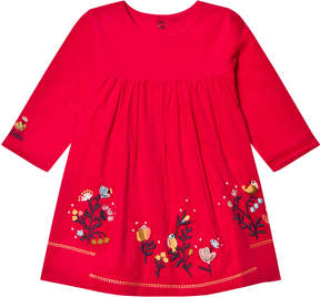 Catimini Pink Flower Embroidered Cord Dress
