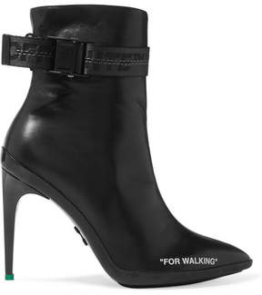 Off-White For Walking Logo-jacquard Printed Leather Ankle Boots - Black