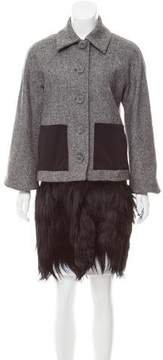 Alessandro Dell'Acqua Shearling-Trimmed Wool Coat