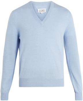 Maison Margiela V-neck cotton and wool-blend sweater