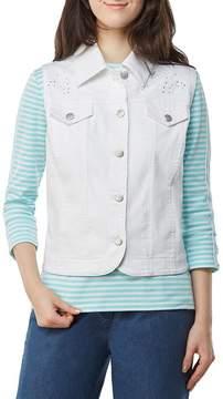 Allison Daley Embellished Button Front Embroidered Super Stretch Twill Vest