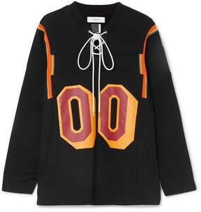 Facetasm Lace-up Ribbed Cotton-trimmed Cotton-terry Sweatshirt - Black