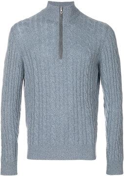 Loro Piana cable knit zipped neck jumper