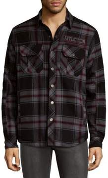 Affliction Night Train Plaid Cotton Button-Down Shirt