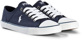 Ralph Lauren Navy Laced Canvas Trainers with White Pony