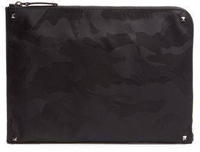 VALENTINO Camouflage-print nylon document holder