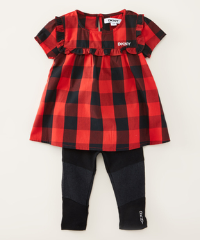 DKNY True Red Bubble Tunic & Black Jeans - Infant, Toddler & Girls