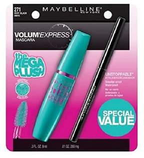 Maybelline Volum' Express Mega Plush Mascara, 271 Very Black, And Eyeliner.