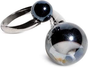 Antica Murrina Veneziana Optical - Silver Stainless Steel Ring w/Black Murano Glass Beads