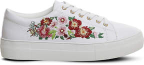 Office Flare floral embroidered faux-leather trainers