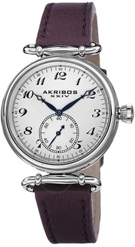 Akribos XXIV White Dial Purple Leather Ladies Watch