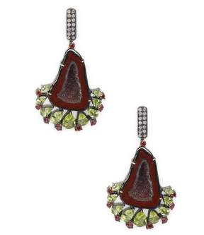 Artisan Women's Geode earring with Peridot, Garnet & Diamond