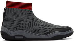Lanvin Black and Grey Mesh High-Top Sneakers