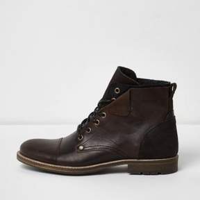 River Island Mens Dark brown leather turn-down military boots