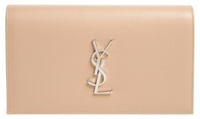 Saint Laurent 'Monogram' Leather Clutch - Beige - BEIGE - STYLE
