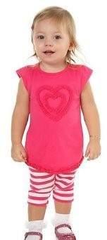 Carter's Everyday Easy Girls 2 Piece Hot Pink Shirt & Striped Capri Set (3 Months)
