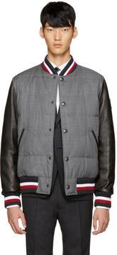 Moncler Gamme Bleu Grey Leather Sleeve Bomber Jacket