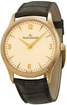 Jaeger-LeCoultre Jaeger Lecoultre Master Control Ultra Thin Champagne Dial 18kt Rose Gold Brown Leather Men's Watch