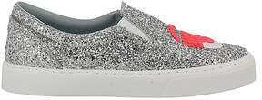 Chiara Ferragni Sneakers Slip On Shoes Glitter With Maxi Embroidery Fluo Eyes Flirting