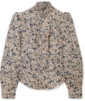 Etoile Isabel Marant Tauren Ruffle-trimmed Printed Linen Blouse - Beige