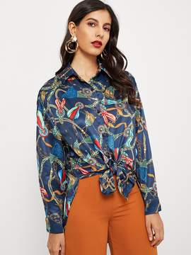 Shein Graphic Print Single Breasted Shirt